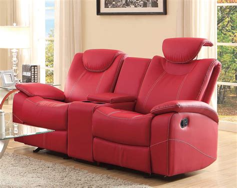 two seater sofa with center console homelegance talbot glider reclining seat with