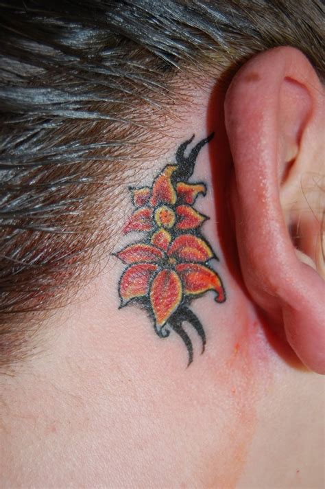 flower tattoo behind ear flower tattoo on behind ear