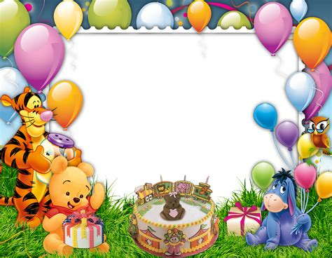imagenes de winnie pooh en alta resolucion cartoon bbirthday frame png hd image free download