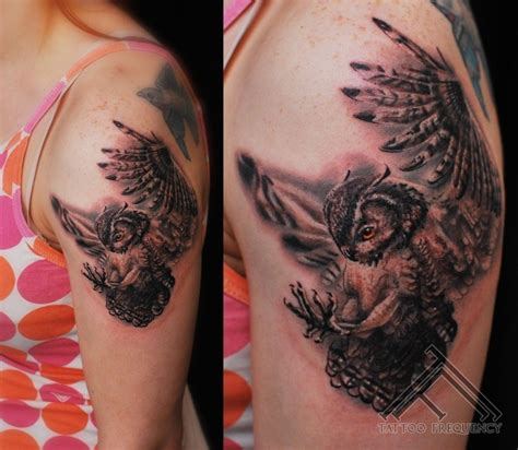 flying owl tattoo on leg spectacular realism style colored flying owl tattoo on