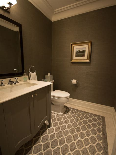 Bathroom Wall Tiling Ideas by Modern Powder Room Patterned Tile Floor The Carlyle