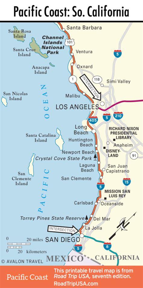 usa road trip map pacific coast route through california road trip usa