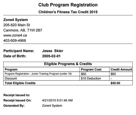Child Fitness Tax Credit Receipt Template fitness tax credits zone4