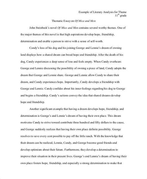 theme in literature essay exles 5 literary analysis exles sles