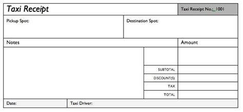 pre paid rent receipt template taxi service bill format smdlab invoice