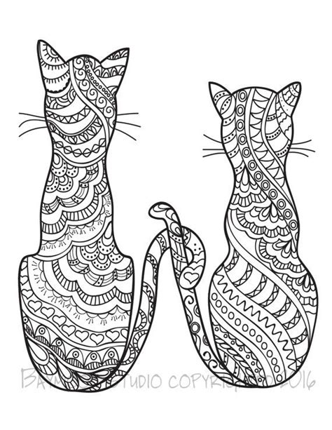 cat zentangle coloring page 624 best adult colouring cats dogs zentangles images on