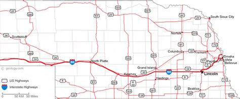 printable nebraska road map map of nebraska
