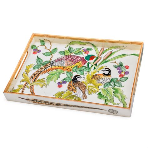 pheasant and quail tray painted wooden decoupage