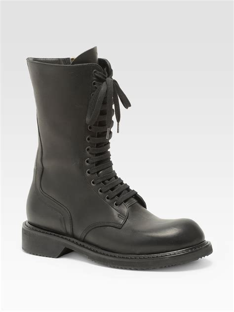 rick owens combat boots rick owens army combat boots in black lyst