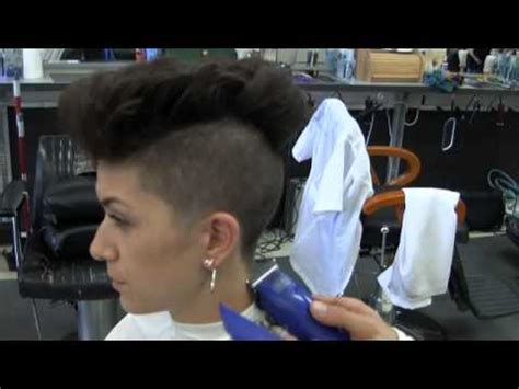 miley cyrus inspired womans disconnected haircut barber sexy mohawk shaved haircut miley cyrus inspired video