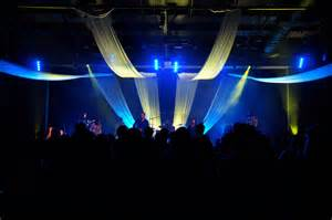 Draped Christmas Lights Fly With Me Church Stage Design Ideas