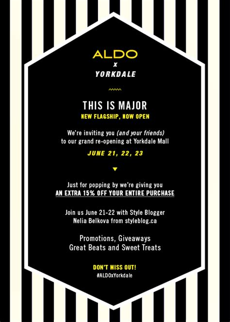 new shop opening invitation you are invited aldo shoes grand re opening at yorkdale