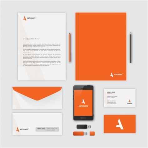 stationery layout vector corporate stationery orange vector free download