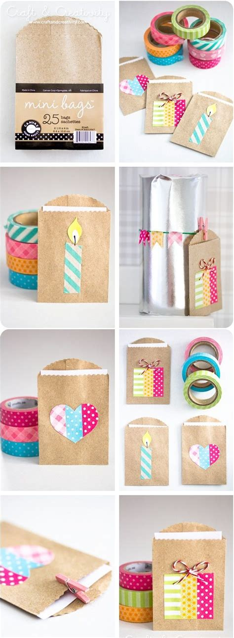 mini craft projects small gift bags washi and washi on