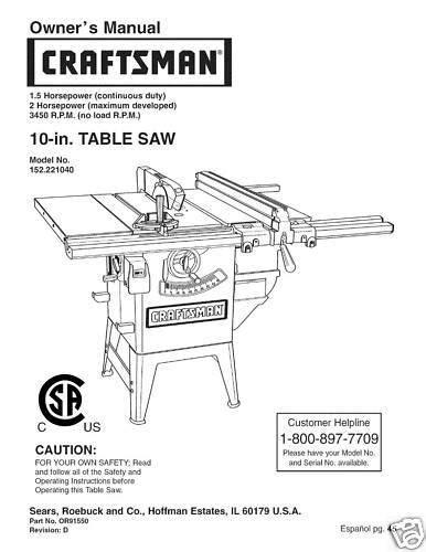 table l parts diagram sears craftsman table saw manual model 152 221040 ebay