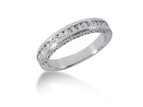 engraved channel set wedding ring band in 14k