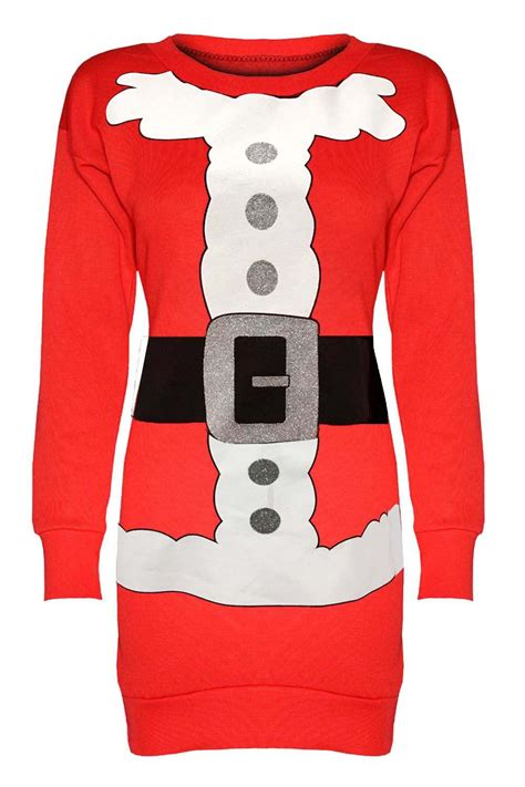 S Jumper 5 In 1 Jumper S Lengan Pendek Usia 3 Bulan womens reindeer santa sweatshirt tunic jumper dress ebay