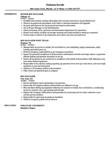 Rig Manager Resume Sles Velvet Jobs Rig Resume Template