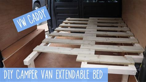 vw caddy pull outextendable bed diy camper van youtube