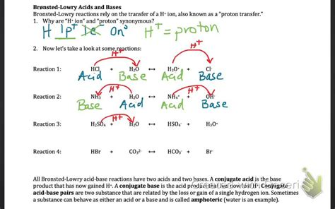 Conjugate Acid Base Pairs Worksheet Answers by Defining Acids And Bases