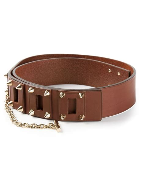 dsquared 178 studded belt in brown lyst