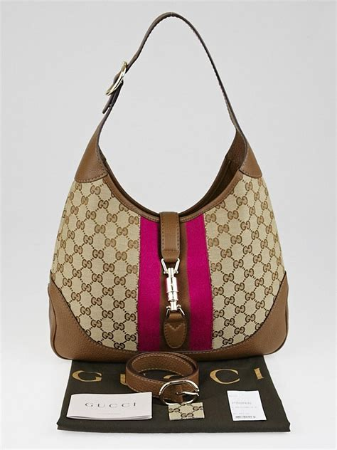 News Web Up Ebelle5 Handbags Purses by Gucci Brown Fuchsia Gg Canvas Vintage Web New Jackie
