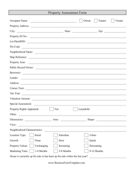 Property Appraisal Form Template Property Valuation Form Template