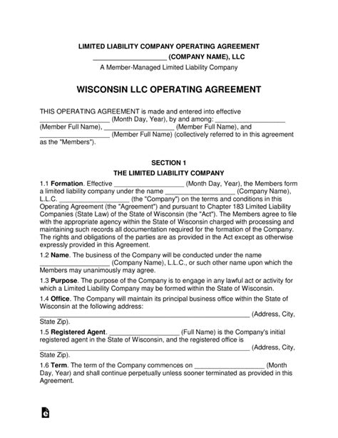 llc operating agreement wisconsin multi member llc operating agreement form