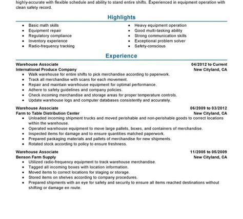 resume templates for warehouse worker warehouse worker resume template resume template free
