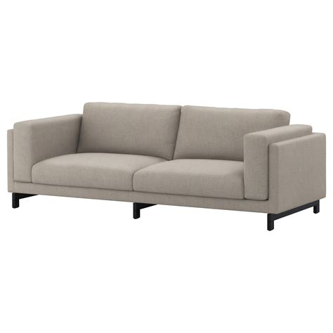 grey sofa ikea nockeby three seat sofa ten 246 light grey wood ikea