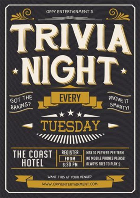 trivia flyers and night on pinterest