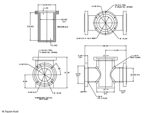 cad drawing 2d mechanical drawings fayzan asad
