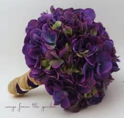 wedding bouquet purple silk hydrangea purple silk flower bridal bouquet hydrangea rustic jute