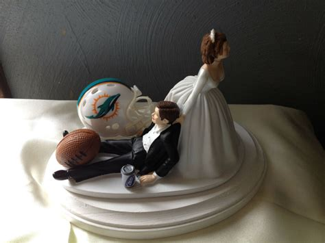 miami dolphins cake topper groom wedding day nfl football theme ebay