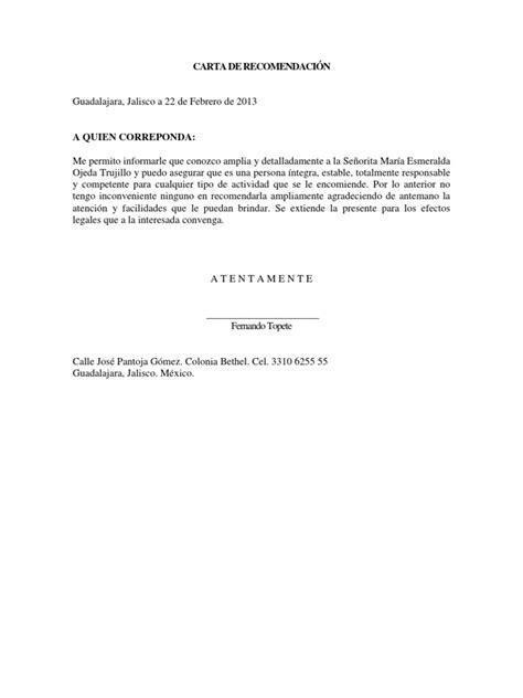 carta de recomendacion laboral destinatario formato de carta de recomendaci 211 n docx