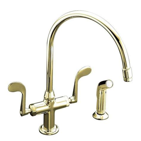 polished brass kitchen faucet kohler essex single hole 2 handle standard kitchen faucet