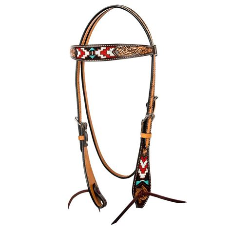 Shop Oxbow Tack Tooled Beaded Browband Headstall