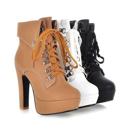 Stylish Retro Platform Back Falbala Pumps Bronze fashion lace up high platform ankle boots heels