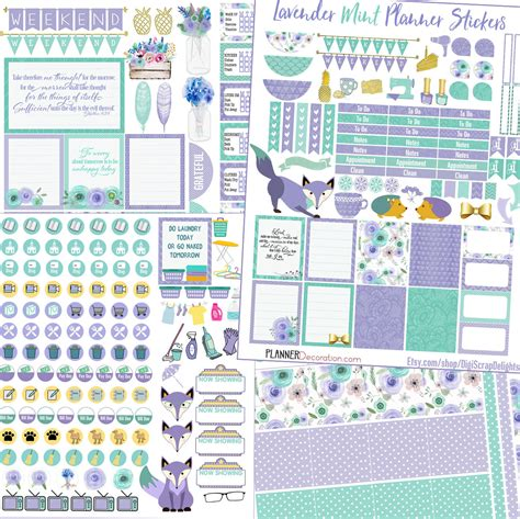 printable planner kits lavender mint printable planner stickers kit by