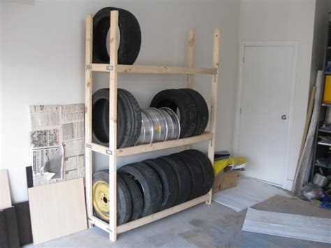 homemade tire rack   home   garage storage garage shop garage shelving