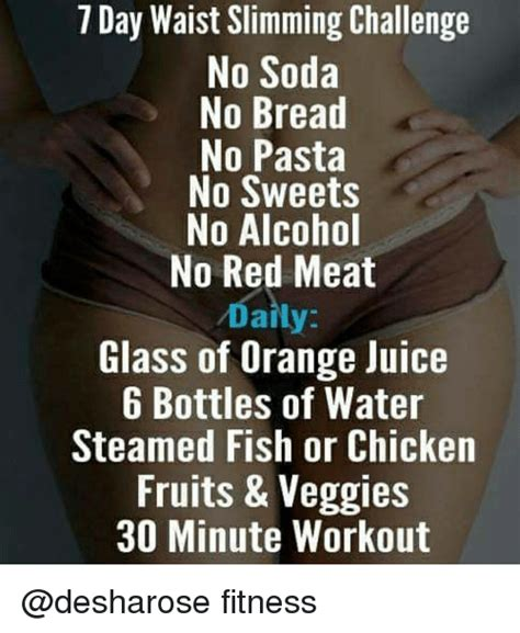 15 day diet challenge 7 day waist slimming challenge no soda no bread no pasta
