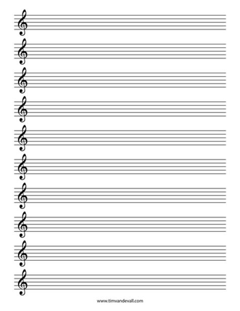printable staff paper pdf blank treble clef staff paper free sheet music template pdf