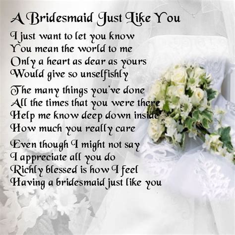 Flower Poem Wedding by 17 Best Ideas About Bridesmaid Poems On