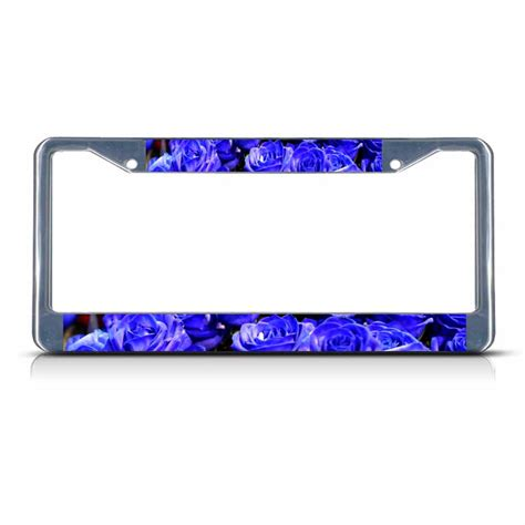 blue rose flowers chrome metal license plate frame tag