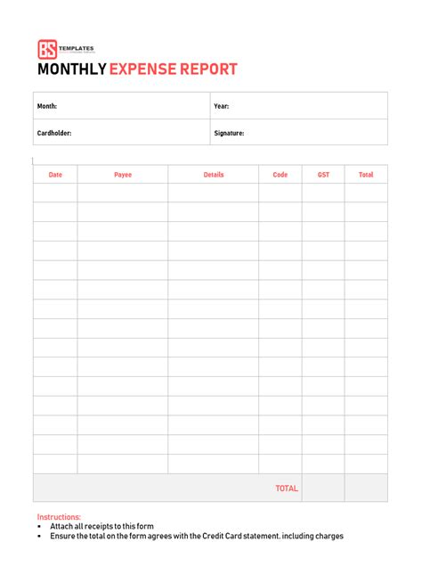 10 Expense Report Template Monthly Weekly Printable Format In Excel Excel Monthly Spending Template