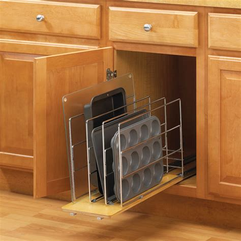 Tray Dividers For Kitchen Cabinets by Wood And Wire Tray Divider Roll Out For Kitchen Cabinet By