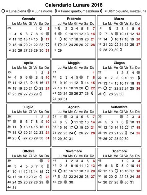Calendario Lunare Settembre 2017 Fasi Lunari 2016 Calendario Lunare