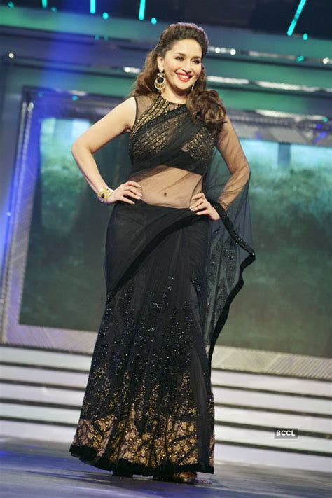 Black Sleeveless Blouse With Saree by Madhuri Dixit Sizzles The R In A Transparent Black