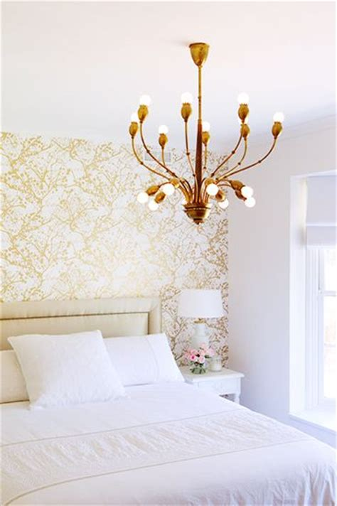 Gold Bedroom Chandelier Why It Works The Accent Wall Gold Wallpaper Wallpaper