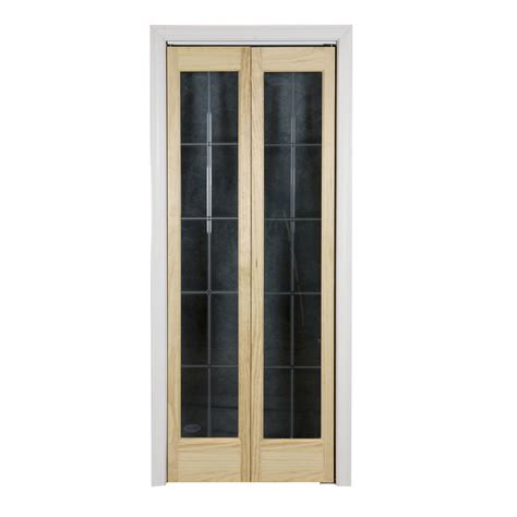 Solid Closet Doors Shop Pinecroft Optique Solid 1 Lite Patterned Glass Pine Bi Fold Closet Interior Door